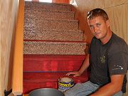 Travis Applying Epoxy Flakes to Stair Faces, June 15, 2010