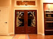 Sandblasted Front Doors at Night, Sept. 16, 2009