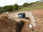 Completed Garage Retaining Wall and Trench for Electricity