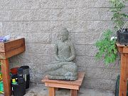 Carved Stone Buddha in Greenhouse, April 29, 2010