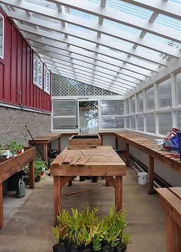 Greenhouse Interior and Redwood Benches