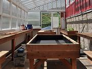 Greenhouse Interior with Redwood Benches, March 28, 2010