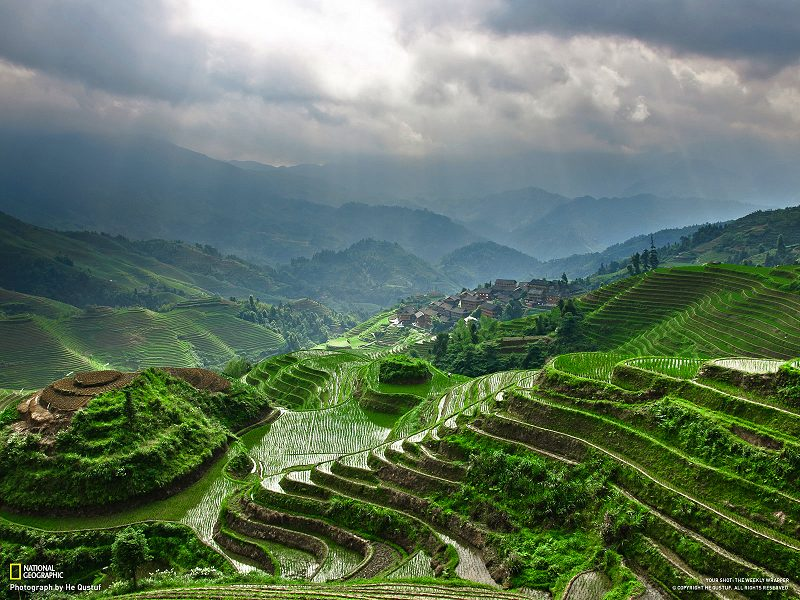 Inspiration for Terraced Rock Walls, LongJi Terrace, Guilin, China
